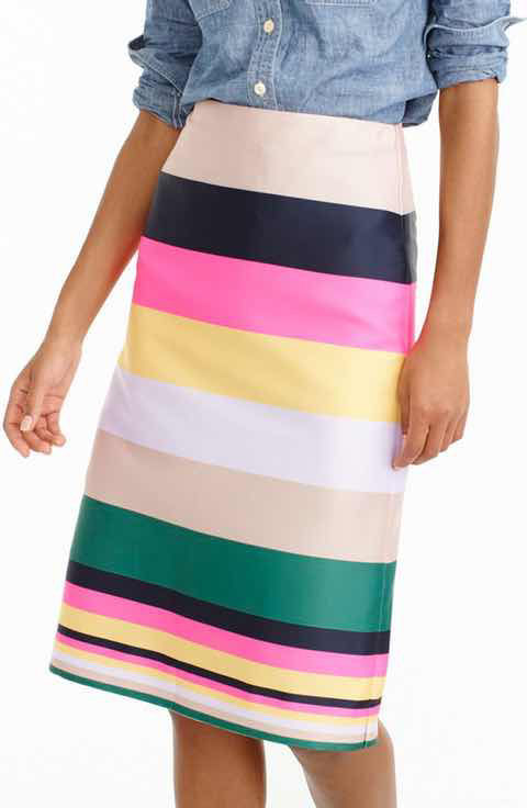 2ff19433dc99 Go bold with this J.Crew Pop stripe skirt available at Nordstrom in Regular  and Petite sizes.